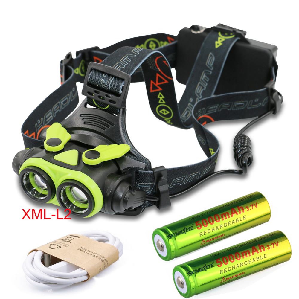 XML -2X L2 LED 6800Lm 3 mode Zoomable Waterproof Headlight Head lamp +2*18650 battery +USB Charger cable sitemap 43 xml