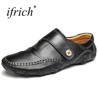 Ifrich 2018 New Leather Men Shoes Luxury Brand Black Brown Flat Sneakers Men Spring Summer Designer