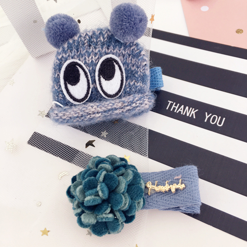 2pcs=1 lot Princess Big Eyes Cute Hair Clips For Girls Knitting Hair Pins Cotton Hair Bows Grips Hair Accessories