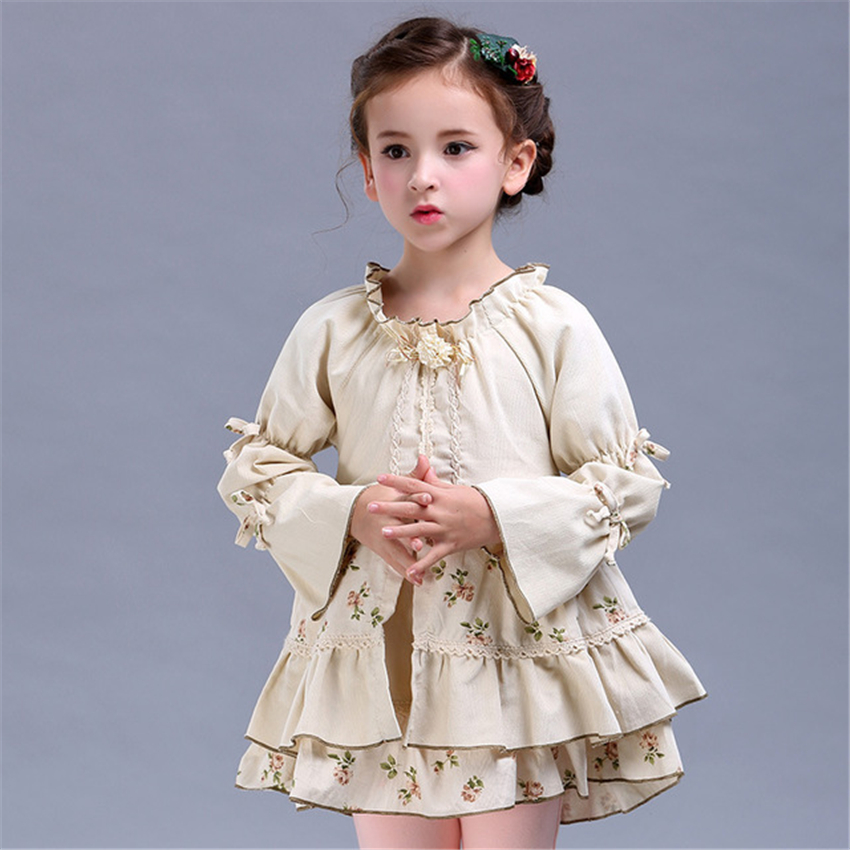2018 Autumn Girls Skirts Princess Tutu Long Sleeve Beige Lace Floral New Children Clothing Pleated School Skirt for Girls