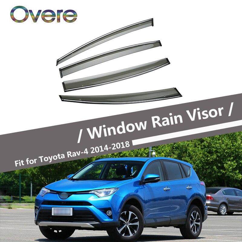 Overe 4 pièces/1 Set Fumée Fenêtre Visière Anti-Pluie Pour Toyota RAV4 XA40 2014 2015 2016 2017 2018 Évent Soleil Déflecteurs Garde Accessoires