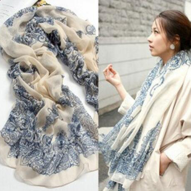 Fashion Women Scarf 170*80cm Ethnic Chinese Style Porcelain Style Soft Comfortable Thin Cotton Voile Scarves Shawl Accessories