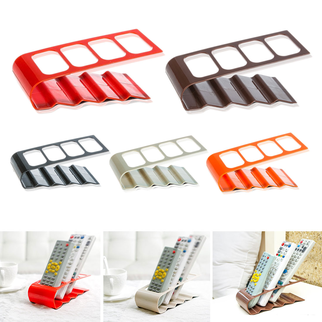 Practical Storage Holder <font><b>Rack</b></font> 4 Section <font><b>Remote</b></font> Storage <font><b>Rack</b></font> TV DVD VCR Step <font><b>Remote</b></font> Control Phone Holder Stand Storage Organiser image