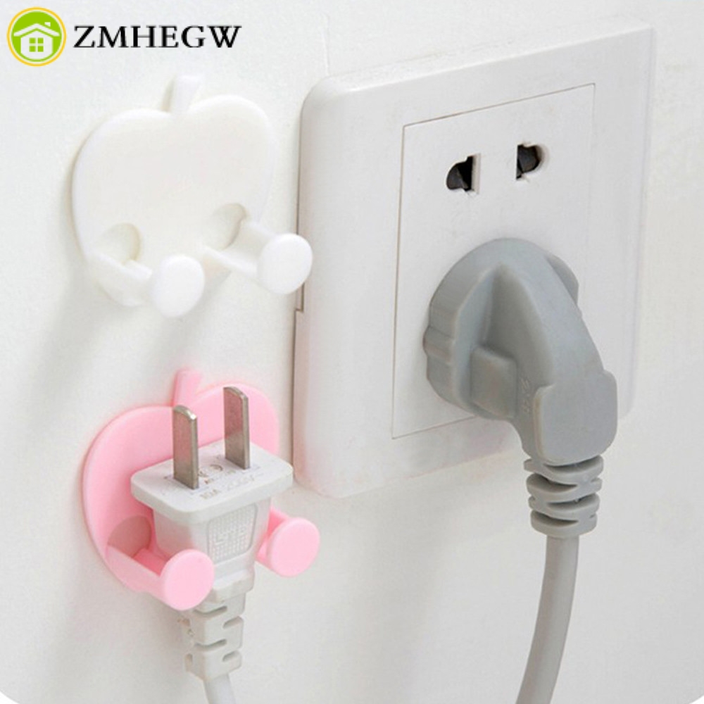 Bathroom Hardware Home Office Wall Adhesive Plastic Power Plug Socket Holder Hanger Hook Rack Kithcen Washroom Bathroom Hooks Wire Plug Hook Tools