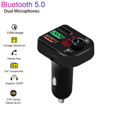 цена на 3.1A Charger Cable Handsfree Car Kit Bluetooth 5.0 Wireless FM Transmitter LCD MP3 Player USB Charger Car Accessories Audio
