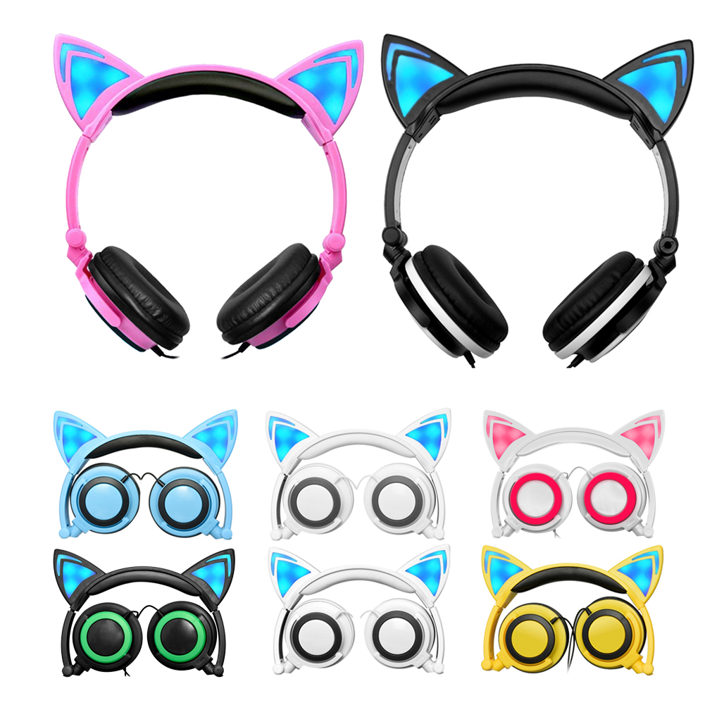 Foldable Flashing Glowing Cat Ear Headphone Game Headset with LED Light For PC Laptop Computer Mobile Phone for Walkman Earphone original creative aurvana live headphone subwoofer headset with biological diaphragm for computer and mobile phone