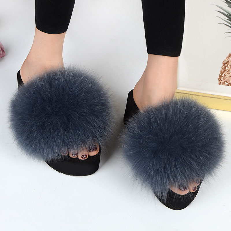 25 Colors Women's Furry Slippers Ladies Cute Plush Fox Hair Fluffy Slippers Women's Fur Slippers Summer Warm Slippers For Women