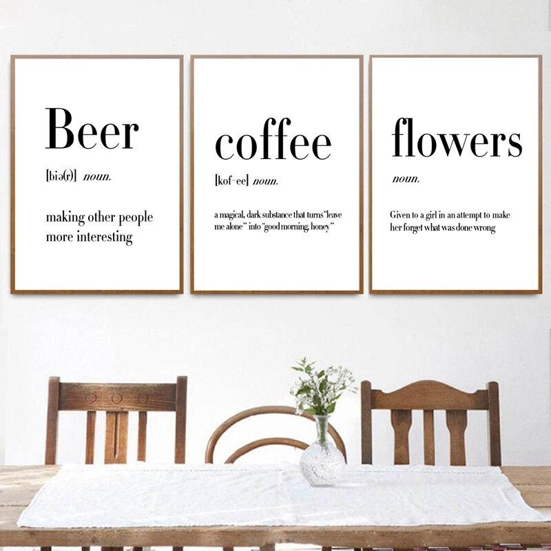 Beer Coffee Wine Quotes Prints Kitchen Room