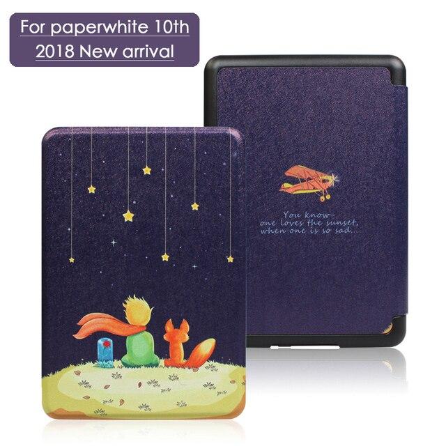 Nueva funda para Amazon nuevo Kindle 2018 de 10 generación funda magnética inteligente para Kindle Paperwhite 4 impresión plegable FolioTablet funda