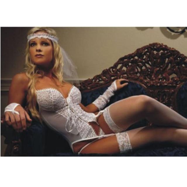 7344de9361 Con medias mujeres sexy nupcial blanco Conjuntos de lencería boda Lencería  liguero gótica transparente erótica Ropa