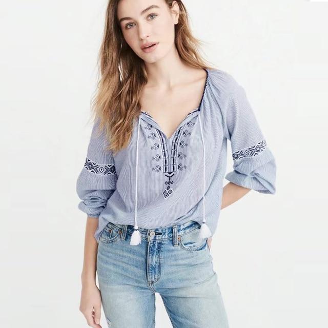 e6d094016a0fab TEELYNN Bule stripe cotton female blouse 2018 Geometric embroidered CHIC  tassel Casual boho blouses hippie loose shirt women top