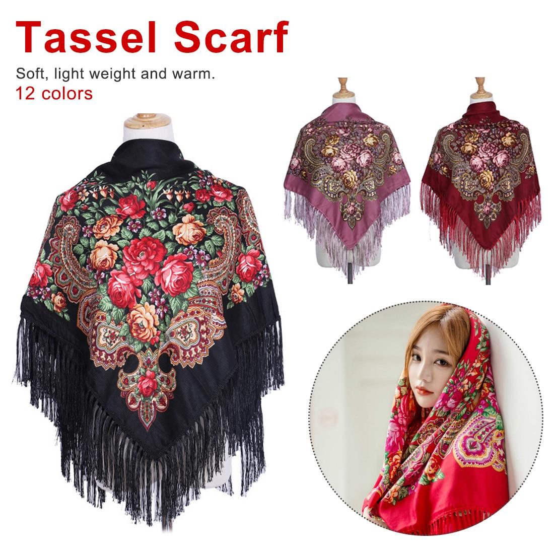National Style Big Size Cotton Square Scarf Flower Tassel Scarf Wraps Ladies Winter Scarf Blanket Shawl