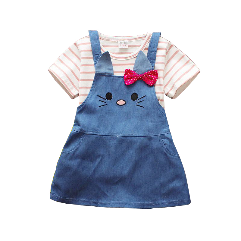 Free shipping 2018 summer new baby Girls Cute Cat Bow Bib 2pcs sets child suit
