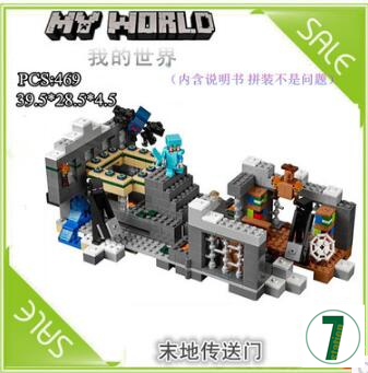 New 469pcs LEPIN 18002 My worlds The end portal minicraft building block toys Steve Wither Skeleton Spider gift boy compatible the forbidden worlds of haruki murakami