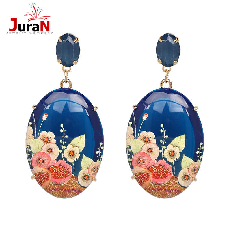JURAN 2019 Vintage Big round Flower Acrylic earrings Good Quality BOHEMIA Ethnic Colorful dangle earrings Trendy Accessories