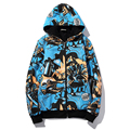 Hip Hop Style Loose Men's Hoodies With Fleece Anime Print Winter Thick Hooded Sweatshirts Fashion Clothes Warm Hoodie Man 5XL