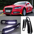 1 Pair For Audi A4 A4L B8 2009 2010 2011 2012 Daylight Car LED DRL Daytime Running Lights Fog Lamp Cover Car-Styling White