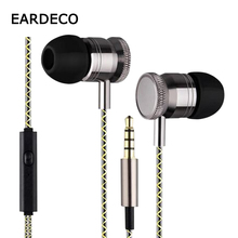 EARDECO In Ear Metal Wired Stereo Earphones Bass Wire Mp3 Sport Earphone Earbuds Headset with Mic Earpiece for phone