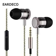 EARDECO In Ear Metal Wired Stereo Earphones Bass Wire Mp3 Sport Earphone Earbuds Headset with Mic Earpiece Earphone for phone все цены