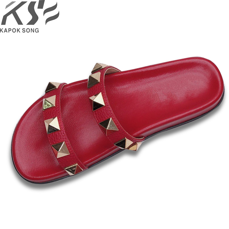 00e5c90987c3d1 2018 Revit slide sandals women luxury designer genuine cow really leather  lady shoes V flats slippers women fashion design