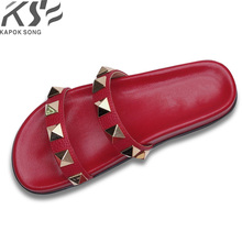 Slide Sandals Luxury Designer Women Lady Shoes V-Flats Fashion-Design Revit Genuine-Cow-Really