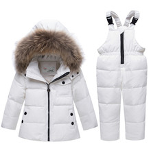 цена на New Winter Children's Suit Girls Down Jackets Baby Boys Children Clothing Sets Toddler Gir Snowsuit White Duck Down Warm Coat