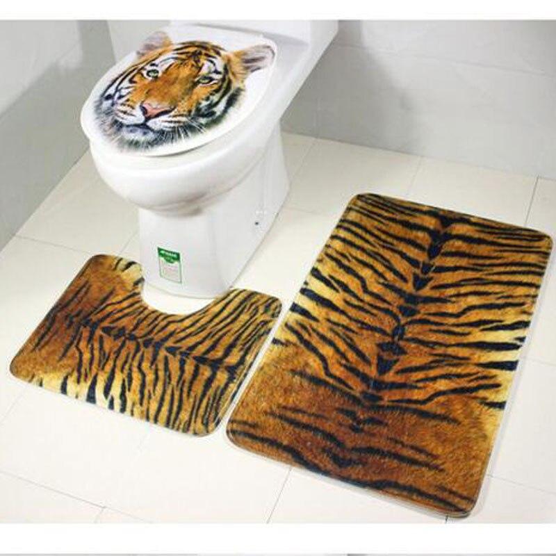 3 pièces/ensemble salle de bain tapis de piédestal Texture tigre antidérapant + couvercle couverture de toilette + tapis de bain