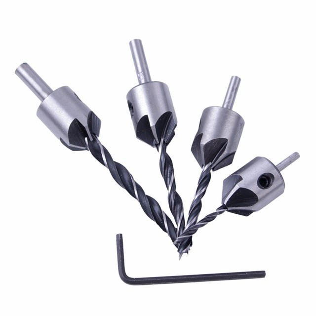 Countersink Drill Bit Carpentry Reamer Woodworking Chamfer End Milling Wood Tool 3mm-6mm ZK74 4pcs Wood Drill Set HSS 5 Flute