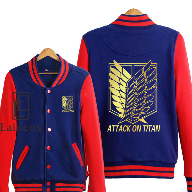 attack on titan baseball jacket. Black Bedroom Furniture Sets. Home Design Ideas