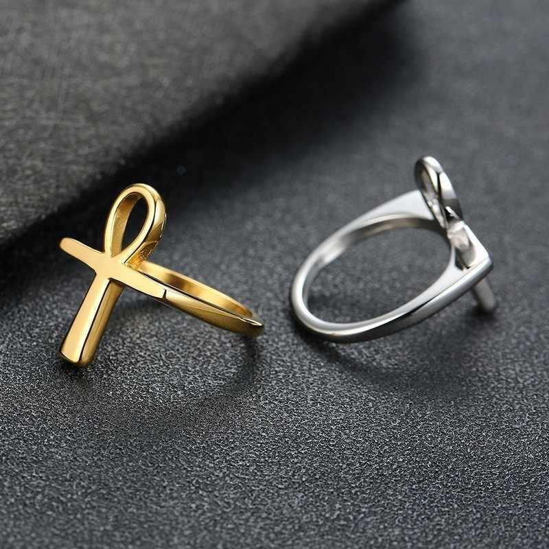 גברים של אנקה מצרי צלב טבעת של חיים זהב כסף טון נירוסטה מסתורי סמל מצרים תכשיטי אנל Aneis