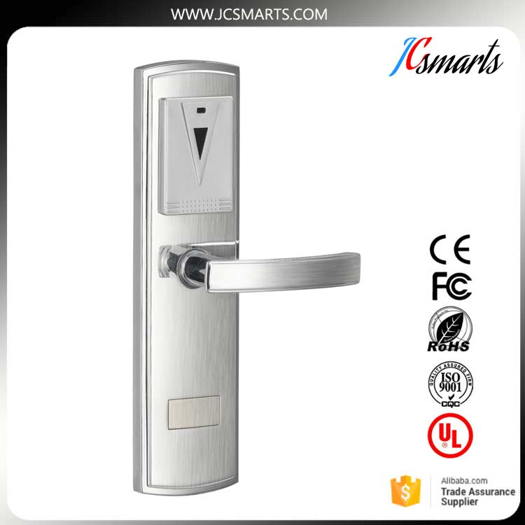 Durable design rfid card hotel lock with pro usb card system with ANSI 5 mortise rfid t5577 hotel lock stainless steel material gold silver color a test t5577 card sn ca 8006