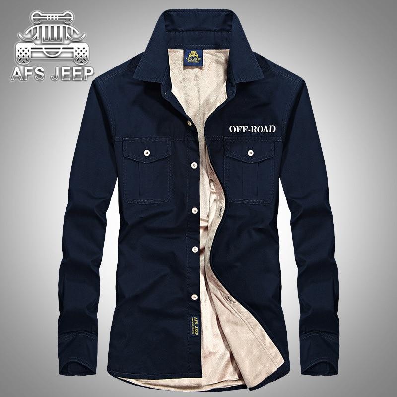 AFS JEEP Marque Vêtements hommes Manches Longues décontracté Chausson Polaire Hiver Chaud chemise de grande taille 3XL 4XL 109