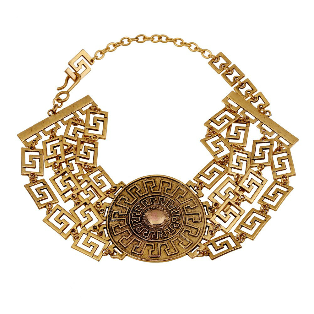 Vintage Exaggeration Alloy Big Chunky Necklaces 2018 Gothic Punk Metallic Choker Necklace Ethnic Jewelry Women Maxi Necklace