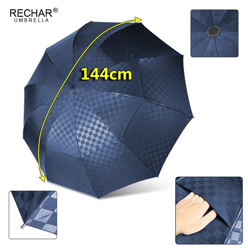 Grade escura dupla camada grande guarda-chuva chuva feminino 3 dobrável negócios à prova dwindproof água guarda-chuva masculino à prova de vento 10 k família paraguas parasol