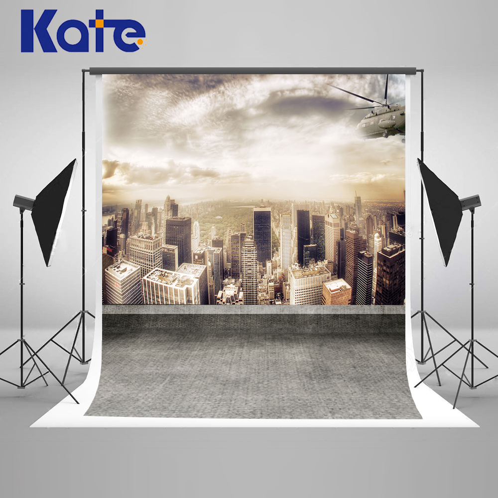 ФОТО Kate Future city Backdrops Sunset Over the City Background Sunny White Clouds Photo Large Size Seamless Photo