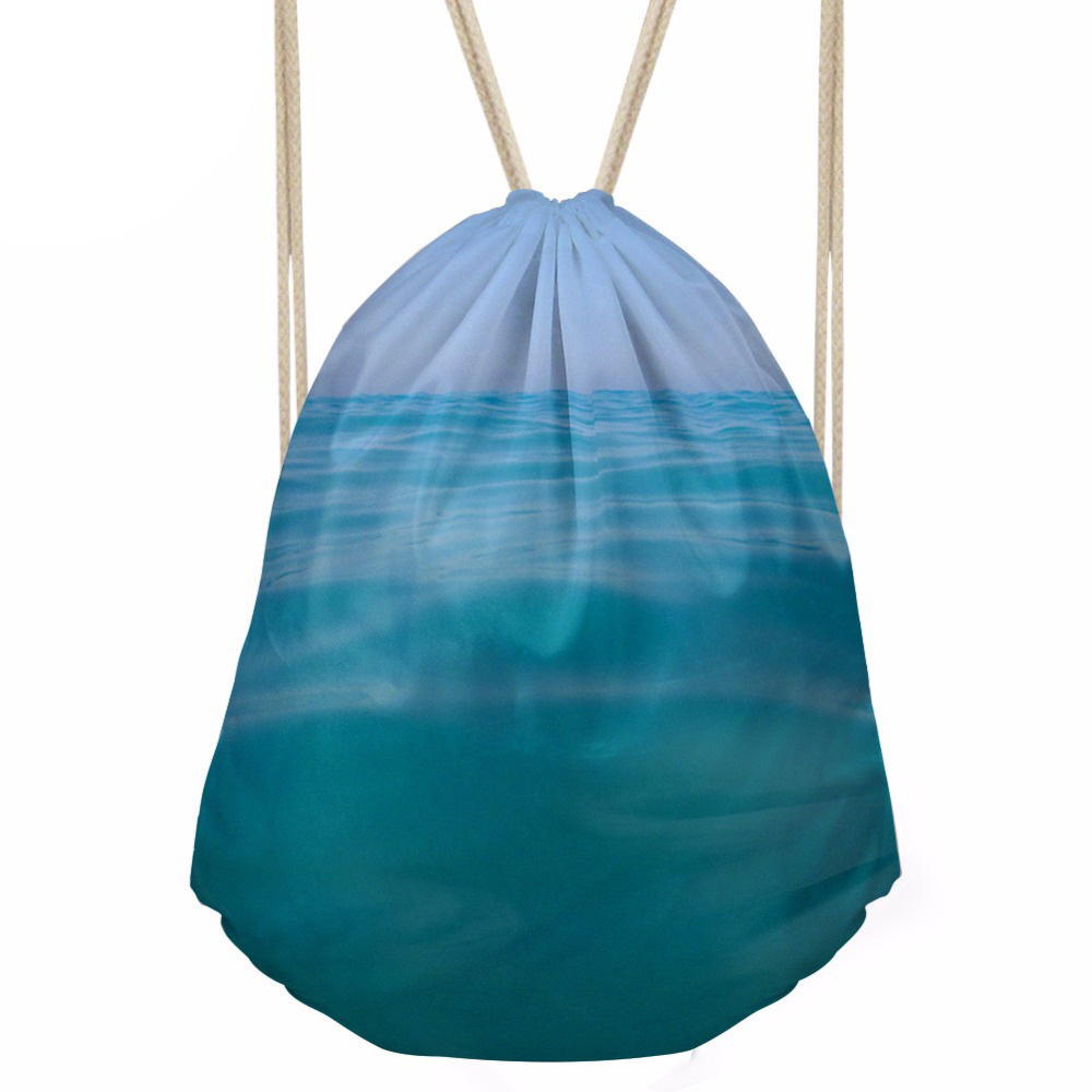 Drawstring Bag Women s Sea Printing Daypack Females Logo Customized Shopping Pocket for Kids Fashion Pouch