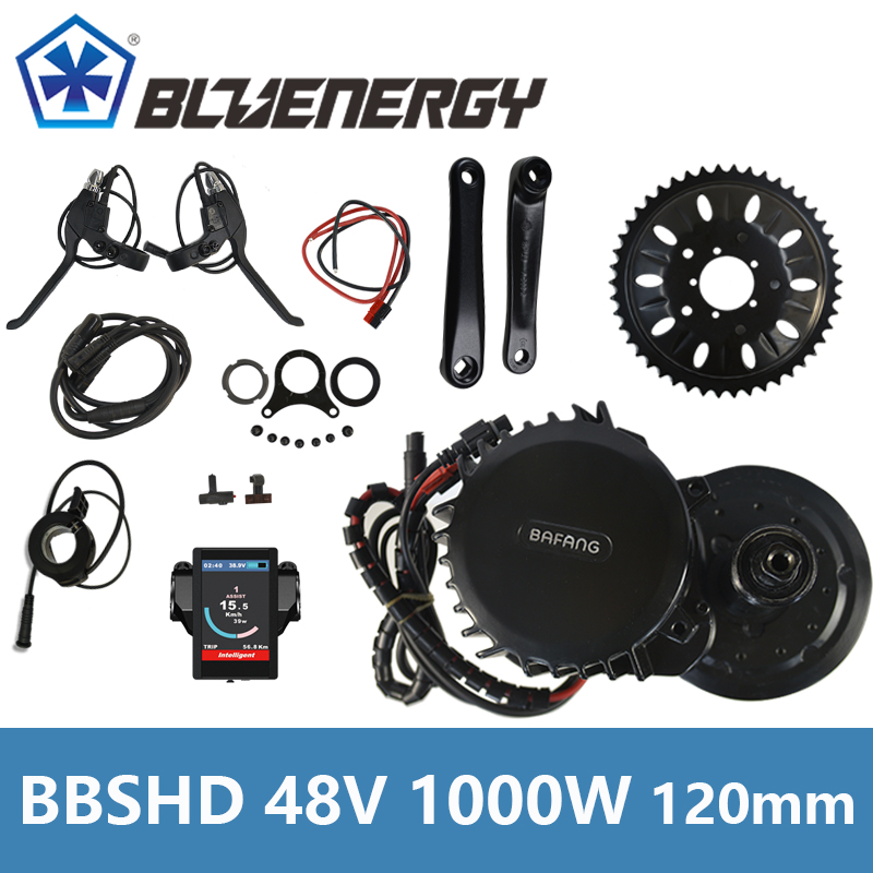 BBSHD BBS03 48V 1000W 8fun Bafang Mid Drive Crank Motor Ebike Kit BB width 120mm Electric Bicycle Conversion Kit free shipping electric bicycle 48v 1000w 8fun bafang bbs03 bbshd mid drive motor kit 68mm 100mm 120mm with c965 lcd display