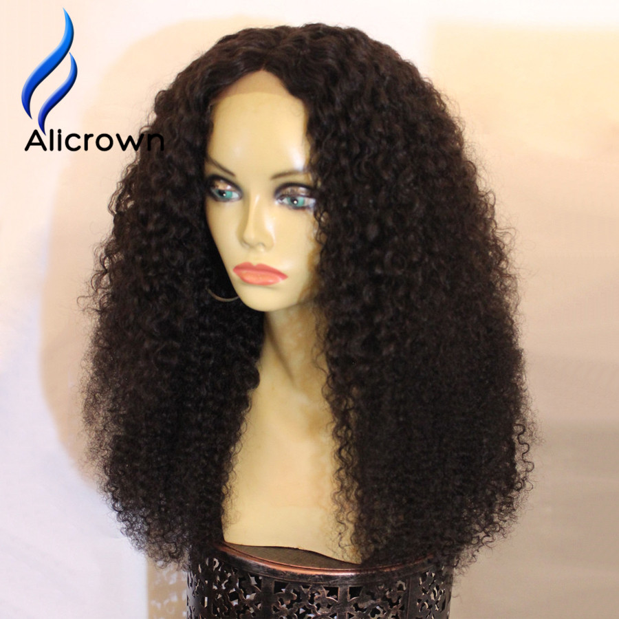 ALICROWN 180 Density Lace Front Wig Afro Kinky Curly Human ...