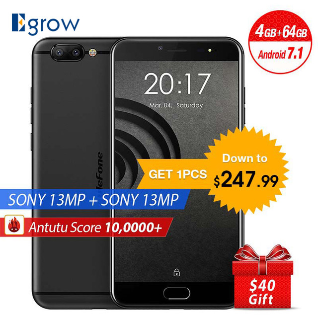 Original Ulefone Gemini Pro MTK6797 Deca Core Android 7.1 Mobile Phone 2 Back Camera 5.5'' Cell Phones 4G RAM 64G ROM Smartphone