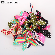 12pcs/lot Original Head Flower Hair Accessories Headdress Korea Trinkets Rabbit Ears Fabric Polka Dot Rubber Band Rope Ring
