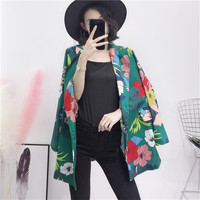 Women Green White Bodycon Loose Bohemia Floral Print Blazer Coat For Women Long Sleeve Jackets Elegant Blazers Feminino New