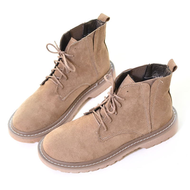 British Style Retro Suede Round Head Martin Boots Booties College Wind Simple Versatile Flat Shoes Fashion