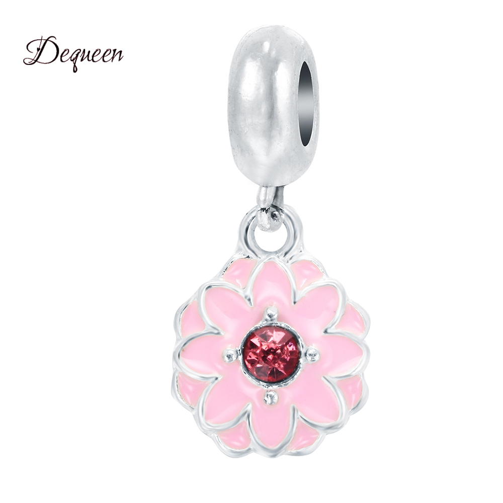 d8946b7ec802 Dequeen joyería kralen flor cuelga Amuletos al por mayor Cuentas Amuletos  DIY pulsera brazaletes y Brazaletes