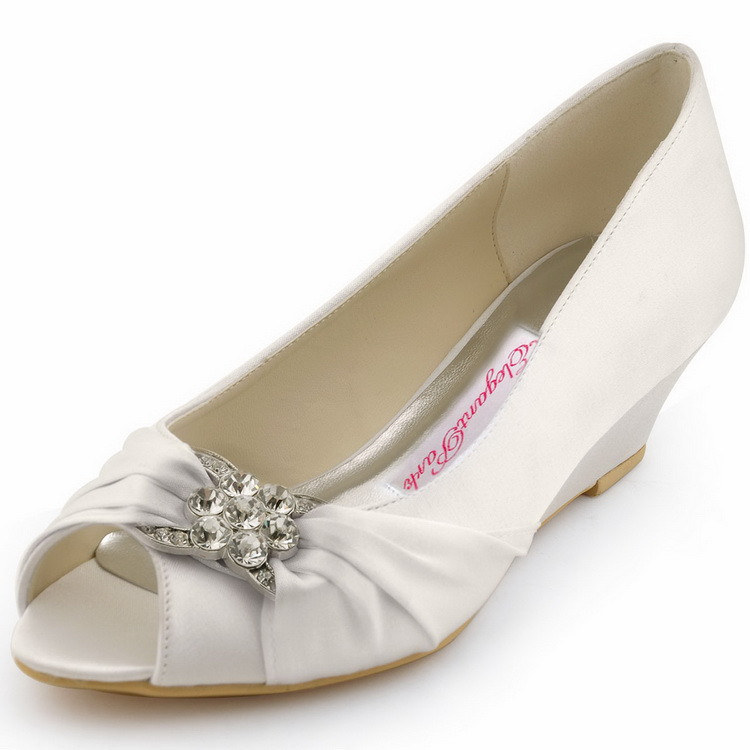 dd8a8749c1bc2 US $41.99 16% OFF|Woman Wedding Wedges WP1403 White Ivory Silver Peep Toe  Rhinestone Med Heels Satin Ladies Bride Bridal Shoes Prom Dress Pumps-in ...