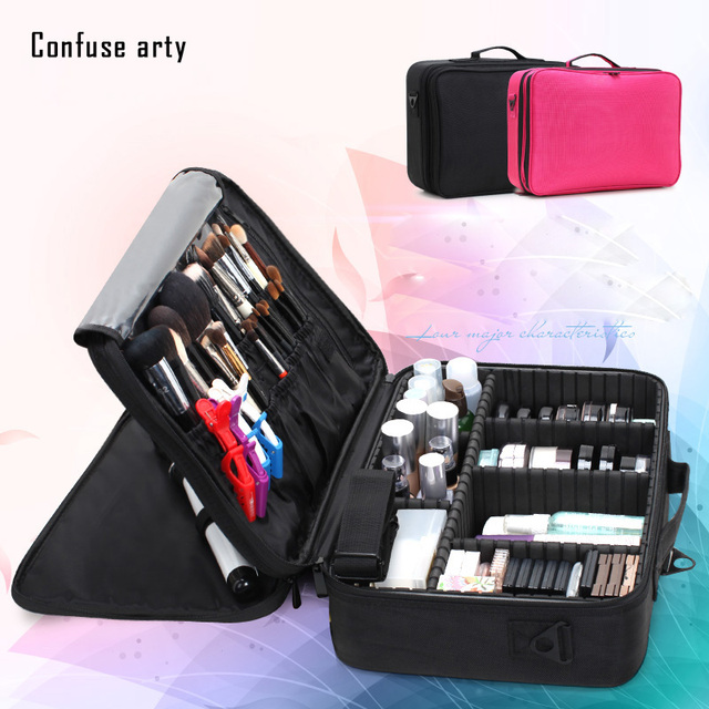 2017 new arrival Large multi-storey professional make up package bag nail pattern semi-permanent tool box cosmetic case bags
