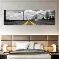 Nordic Canvas Painting Wall Art Poster Home Decor Picture Scenery Living Room Yellow Road Landscape Minimalist Modern Painting