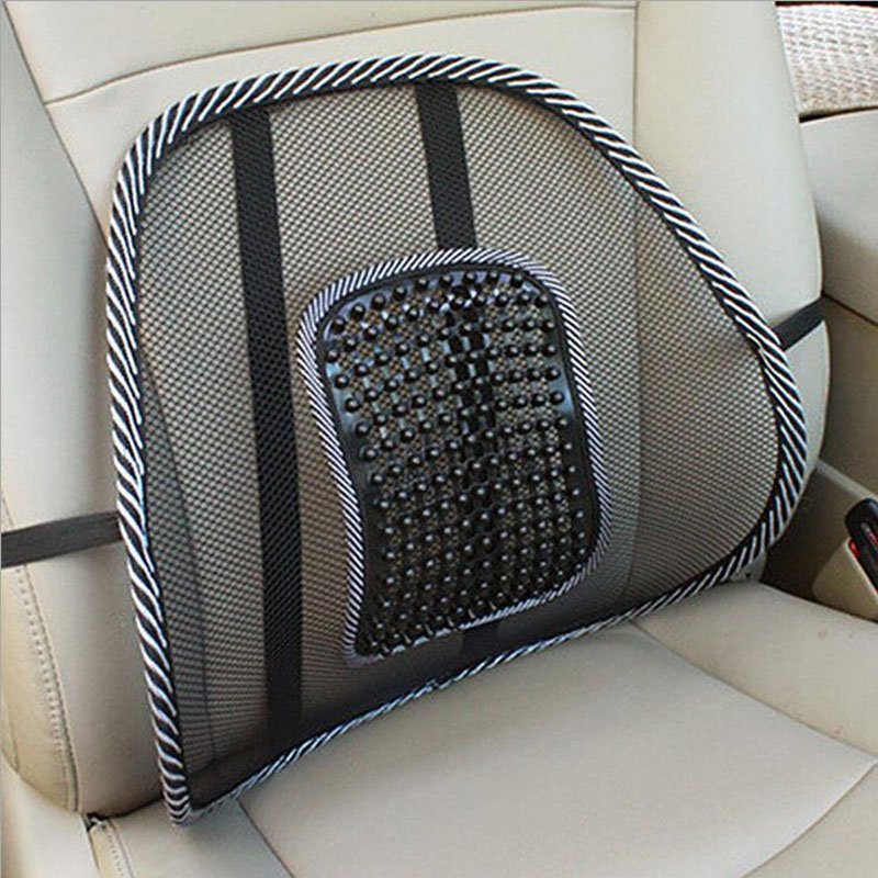 New Universal Car Back Support Chair Massage Lumbar Support Waist Cushion Mesh Ventilate Cushion Pad For Car Office Home Black