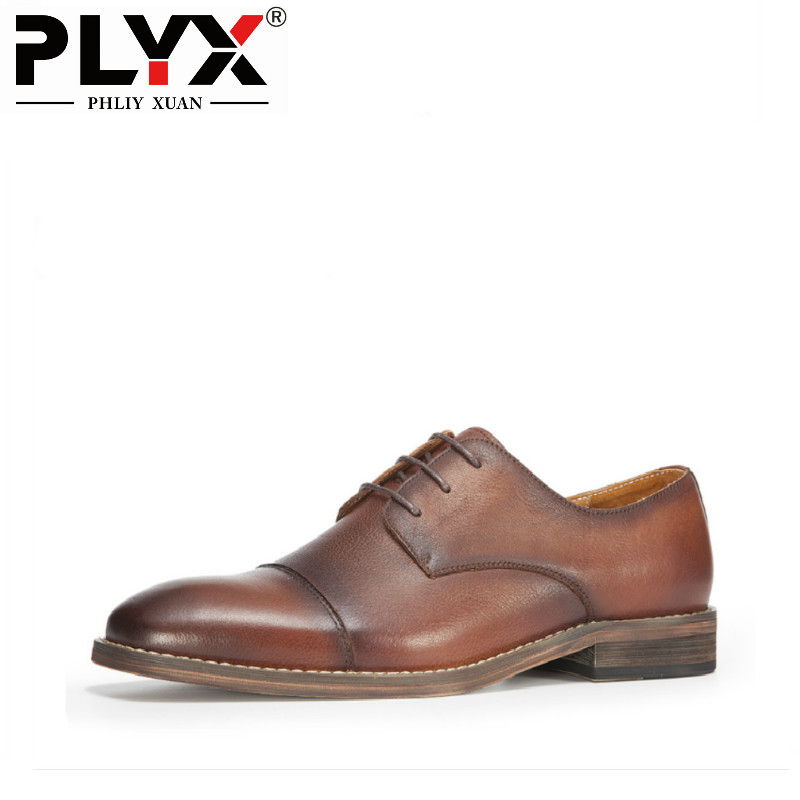 PHLIY XUAN Retro British Style Genuine Leather Mens Dress Shoes 100% Handmade Luxury Brand Mens Shoes 2018 children s clothing new short sleeved girls printed shoulders children princess puff dress baby girl clothes baby