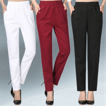 Women's Trousers Spring Summer Autumn Stretch Waist Cotton Feet Pants Middle And old Ladies Large size Solid Casual Pants 5XL