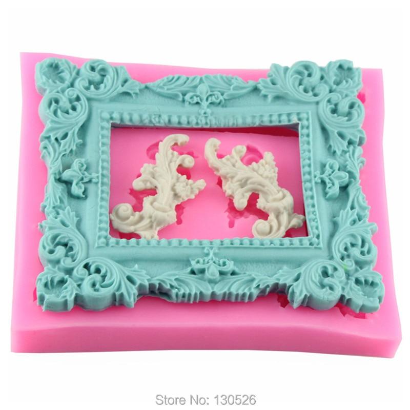 2Pcs//Set Retro Frame Jewelry Silicone Mould Fondant Cake Molds Decorating Tools